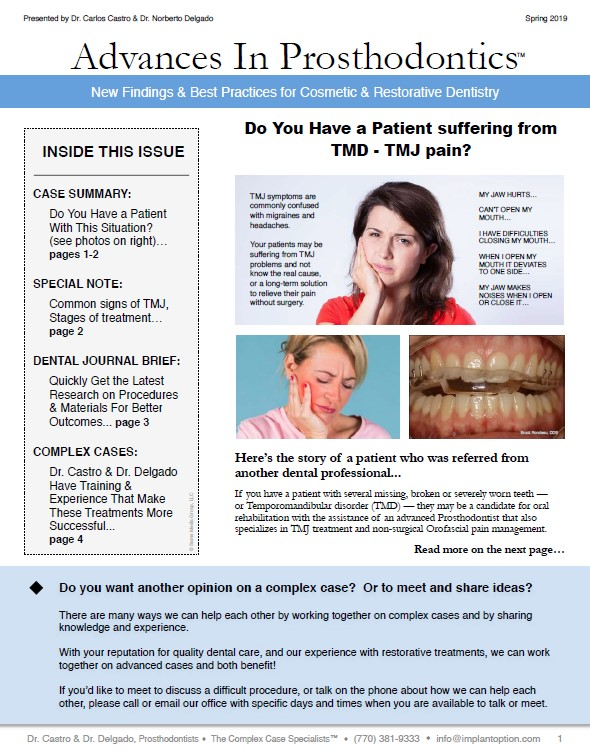 Do You Have a Patient suffering from TMD - TMJ pain